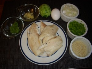 Poached tilapia, lime zest, garlic, lime, egg, onion, green pepper, bread crumbs