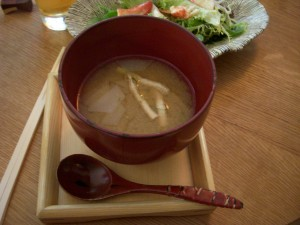 Miso soup with fried tofu