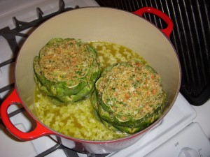 Artichokes cooking in the dutch oven