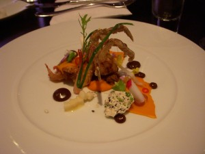 Soft shell crab with carrot, five spice, and duck