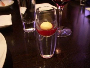 Yogurt ball with pomegranate and cassia
