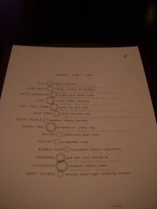 Our menu for the evening