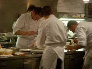 Chef Grant Achatz concentrating on plating
