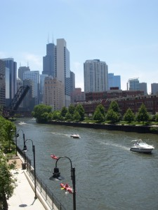 Kayakers on the canal and the Sears Tower in the background