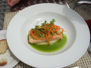 Salmon with potato puree, julienned vegetables and basil vinaigrette