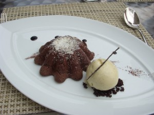 Molten chocolate cake and vanilla ice cream