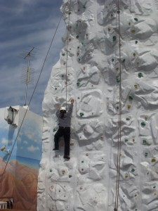 My pathetic attempt at rock wall climbing