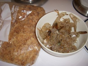 Bonito flakes and shrimp shells for the dashi