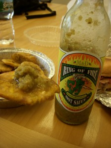 Roasted garlic and tomatillo hot sauce couldn't save the bad tostones