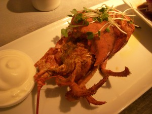 The lobster was covered in garam masala and had a lemon creme fraiche dipping sauce on the side