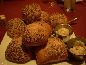 Seeded rolls with sweet pecan butter