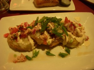 Fried green tomatoes with lobster and shrimp salsa