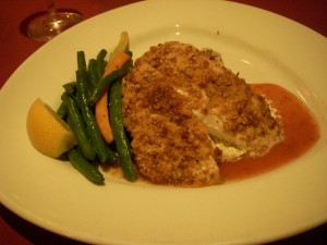 Pecan encrusted grouper with spicy cranberry sauce
