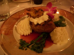 Filet mignon with goat cheese soufflé and blackened shrimp