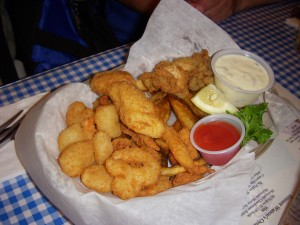 Fried shrimp, clams, scallops, and oysters