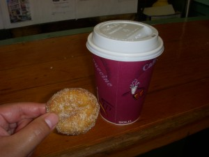 The size of the doughnuts compared to a cup of coffee