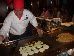 Meticulously laid out vegetables on the hibachi