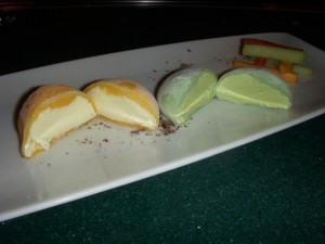 Mango and green tea mochi ice cream