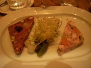 Beef cheek terrine on the left and rabbit terrine on the right