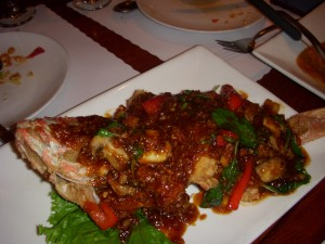 Fried whole red snapper with garlic and chili sauce
