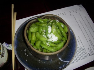 Edamame topped with coarse salt