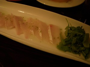 Hamachi carpaccio with jalapeno sauce
