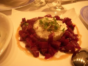 Diced beets topped with feta skordalia