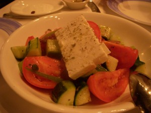 Greek salad with delicious feta