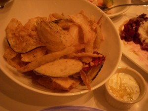 Nisi chips with tzatziki sauce for dipping
