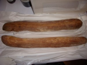 Whole wheat baguette from Amy's Bread on top, regular baguette from Sullivan St. on the bottom