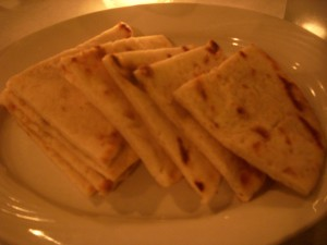 Warm pieces of pita bread