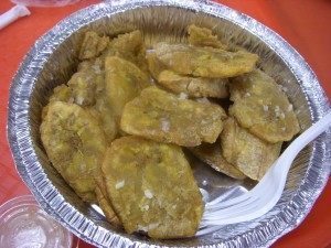 Tostones topped with mojo