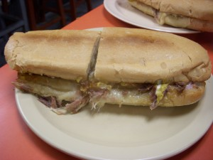 Crispy and hot pressed Cuban sandwich