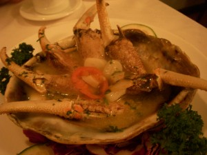 Crab claws in garlic sauce