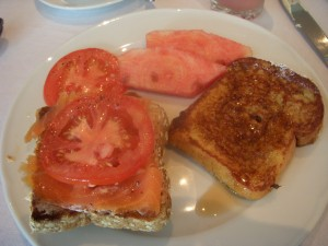Smoked salmon and tomato on whole wheat toast, watermelon, french toast