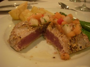 Perfectly rare seared yellowfin tuna