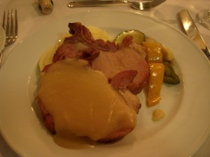 Ham with applesauce, mashed potatoes, roasted vegetables