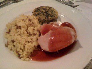 Rice pilaf, spinach frittata, pork tenderloin