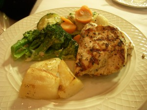 Grilled chicken with roasted lemon potatoes