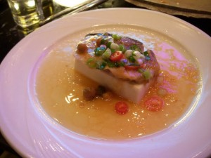 Sturgeon filet atop soft tofu