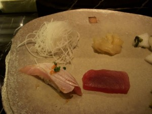 Torched salmon sushi and tuna sashimi