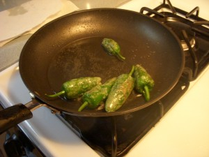 Frying up the peppers in some oil