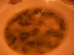 Collard green, potato, and sausage soup