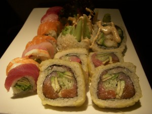 Rainbow roll on the left, Taxi Driver roll in front, Apollo 13 in the back
