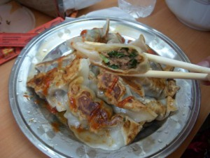 More porky and chivey dumpling innards