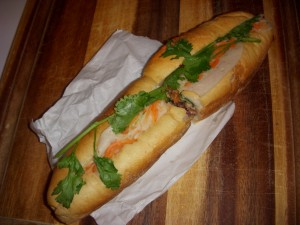 Pork banh mi with pate, pickled vegetables, and cilantro