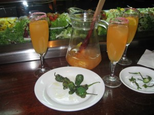 Snacking on pimientos de padron with cava sangria at a bar in Barcelona. Funny story about the cava sangria, but that's best saved for another time