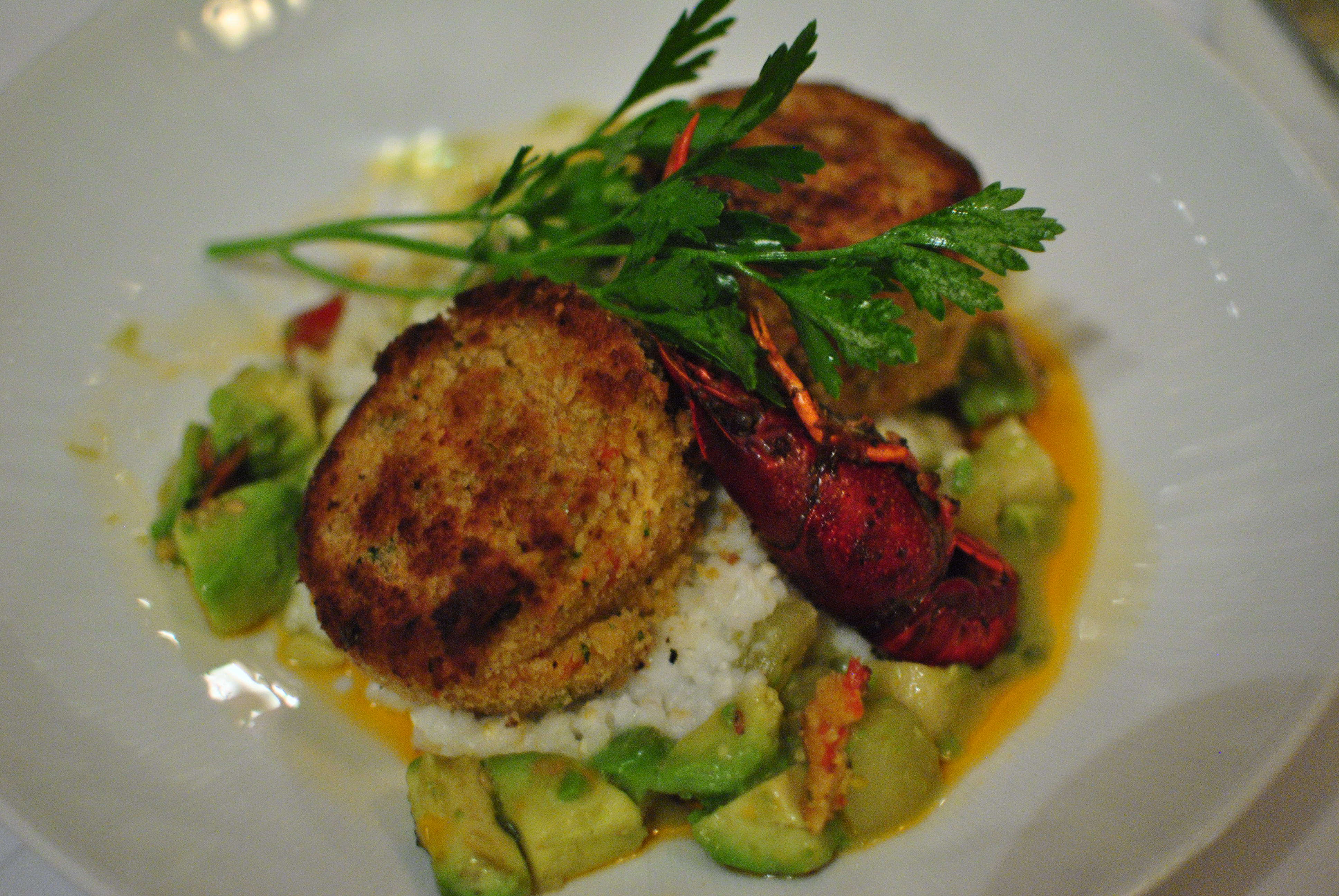 ... tomato, avocado, sweet pepper relish, and creamy stone ground grits