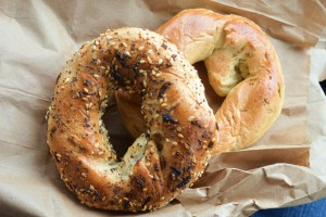 Everything bagel and rosemary bagel from St-Viateur Bagel