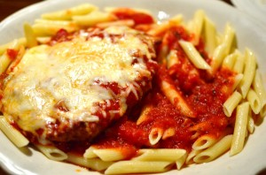 Chicken parmiagiana with penne pasta